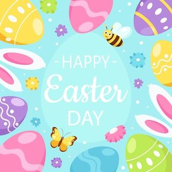 Cartão de feliz páscoa. ovos de páscoa, orelhas de coelho, flores