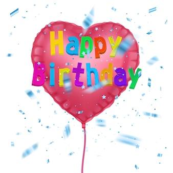 Cartão de férias com balão de ar de festa e texto de feliz aniversário com confete