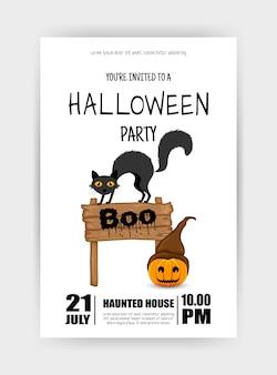 Cartão de férias de halloween com o gato. estilo de desenho animado. ilustração vetorial.