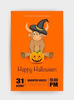 Cartão de férias de halloween com touro. estilo de desenho animado. ilustração vetorial.