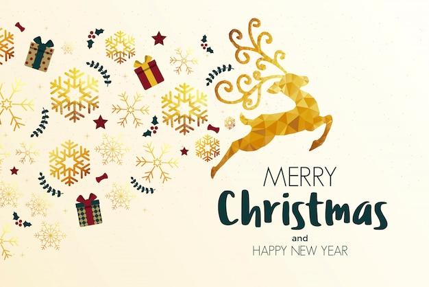 Cartão de férias de natal feito de triângulos, renas e flocos de neve