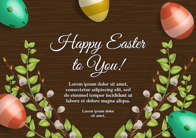 Cartão de férias de páscoa com ovos coloridos na mesa de madeira