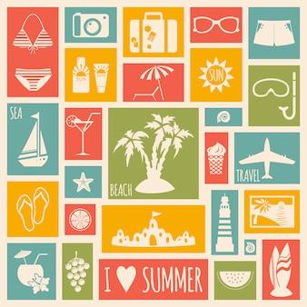 Cartão de férias de verão com elementos planos