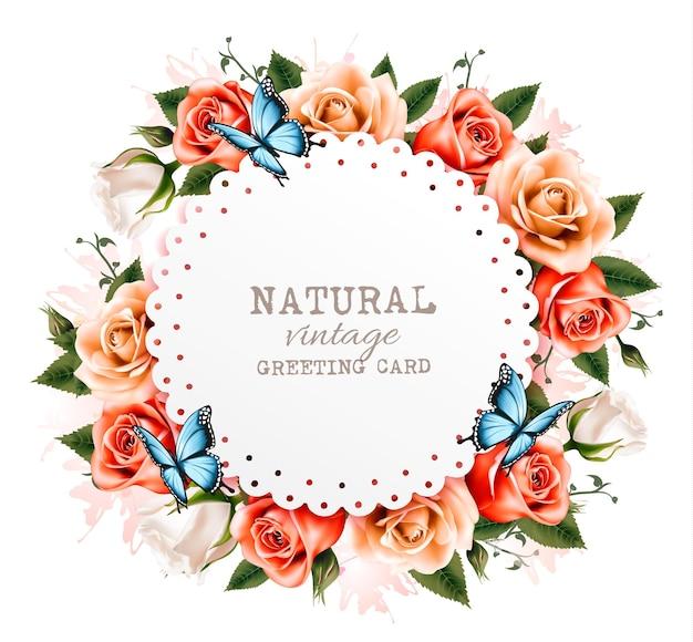Cartão de férias vintage com lindas rosas e borboletas. vetor.