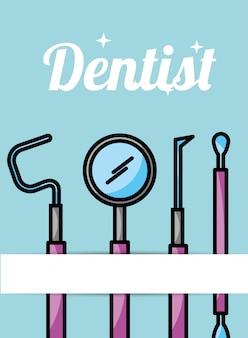 Cartão de ferramentas de higiene de cuidados dentista