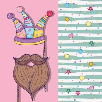 Cartão de festa com decoração de chapéu e barba