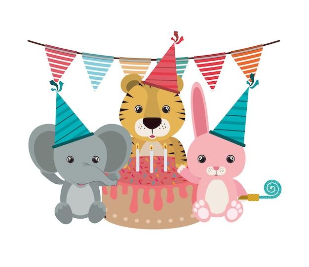 Cartão de festa de aniversário com animais