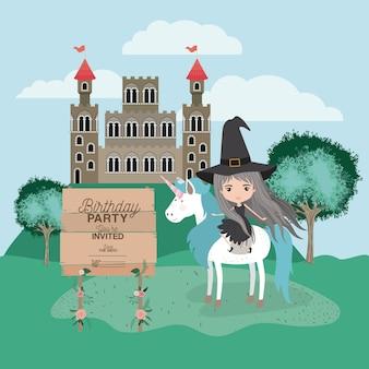 Cartão de festa de aniversário convidada com unicórnio e bruxa