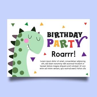 Cartão de festa de aniversário de dinossauro