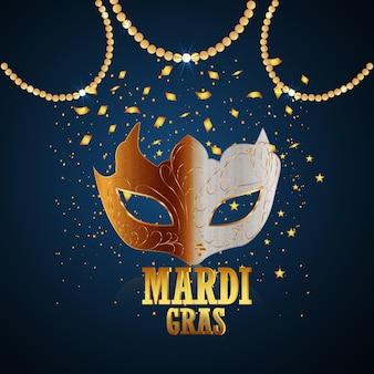 Cartão de festa de carnaval com máscara dourada e penas