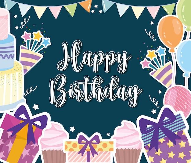 Cartão de festa de comemoração de aniversário
