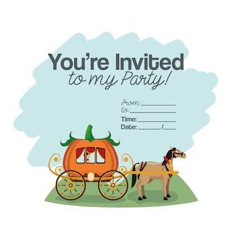 Cartão de festa de crianças de halloween