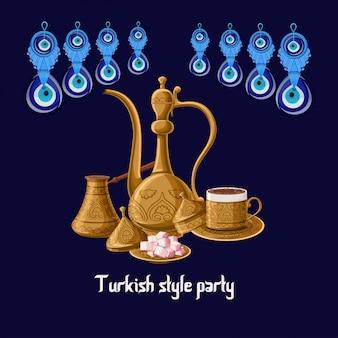 Cartão de festa de estilo turco