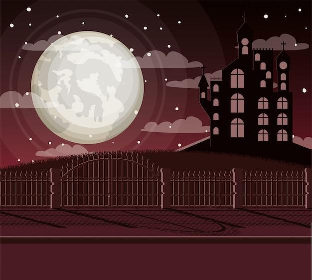 Cartão de festa de halloween com castelo no escuro