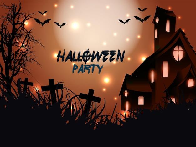 Cartão de festa de halloween com fundo de terror