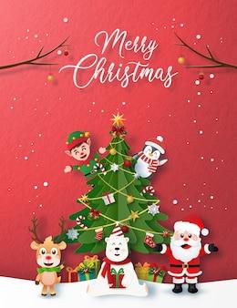 Cartão de festa de natal com caráter de papai noel e natal