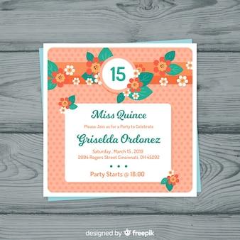 Cartão de festa de quinceanera de flores planas