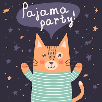 Cartão de festa do pijama com um gato fofo