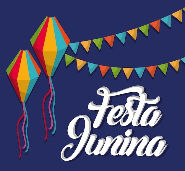 Cartão de festa junina com bandeirolas decorativas e balões