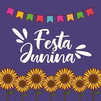 Cartão de festa junina com girassóis e guirlandas penduradas