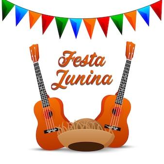 Cartão de festa junina com guitarra criativa e bandeira de festa