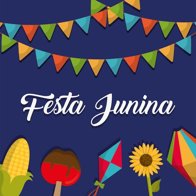 Cartão de festa junina com ícones relacionados