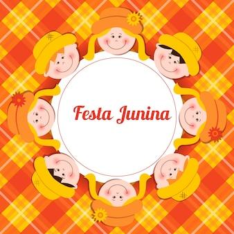 Cartão de festa junina com miúdos e fundo da manta.