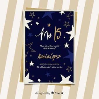 Cartão de festa plana estrelas quinceanera