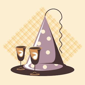 Cartão de festa retrô com chapéu e copos