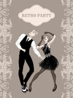 Cartão de festa retrô, homem e mulher vestida na década de 1920, dançando, bonitão de meninas melindrosas no terno vintage, vinte anos, ilustração