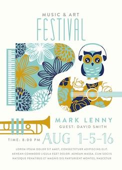 Cartão de festival de música com ilustração de instrumentos musicais