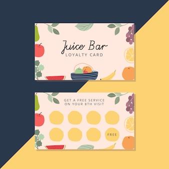 Cartão de fidelidade de barra de suco com frutas frescas