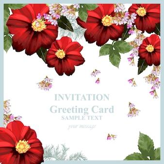 Cartão de flor de flores de camomila vermelho aquarela