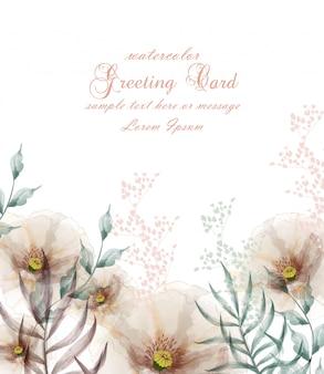 Cartão de flor de quadro de flores em aquarela