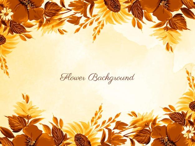 Cartão de flor desenhada linda mão abstrata