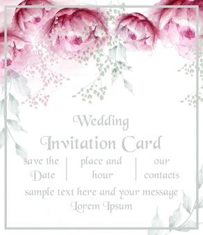 Cartão de flor em aquarela peônia flores moldura