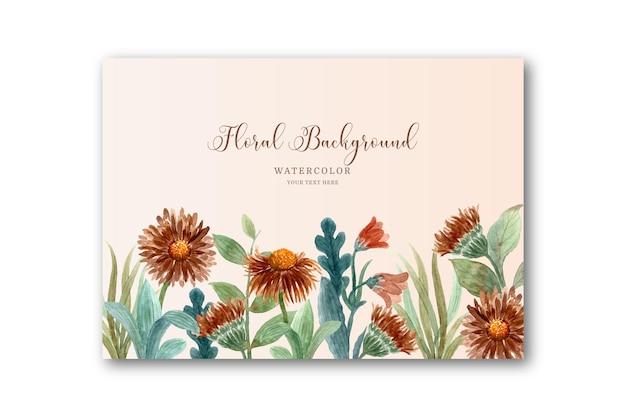 Cartão de flor marrom aquarela