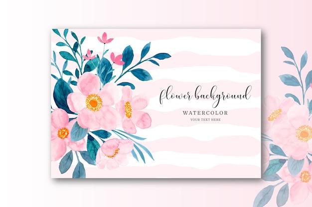 Cartão de flor rosa com aquarela