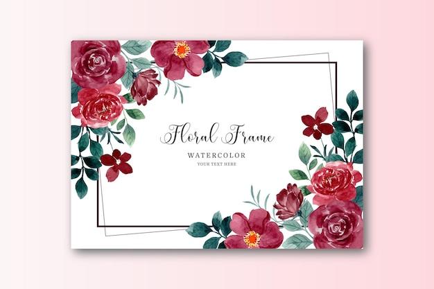Cartão de flor rosa vermelha em aquarela