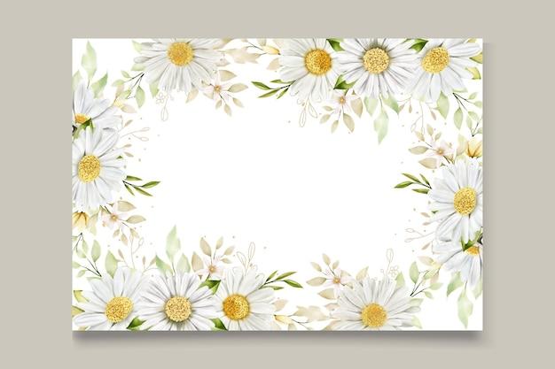 Cartão de flores de crisântemo em aquarela de verão