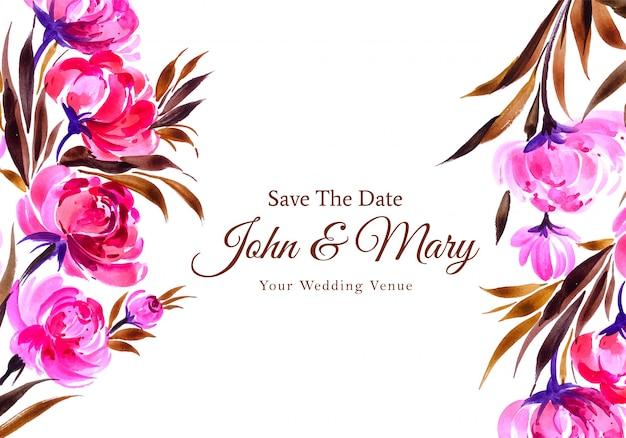 Cartão de flores decorativas em aquarela de convite de casamento