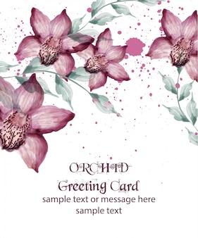 Cartão de flores em aquarela de orquídea