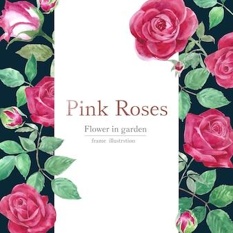 Cartão de flores em aquarela rosa