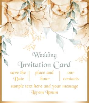 Cartão de flores em aquarela