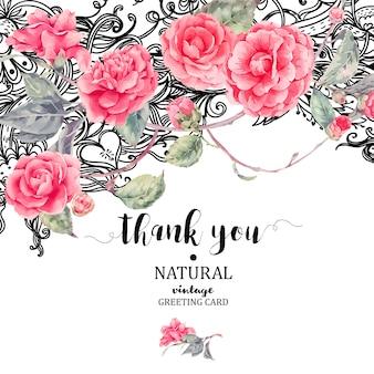 Cartão de flores naturais vintage laço e camélia