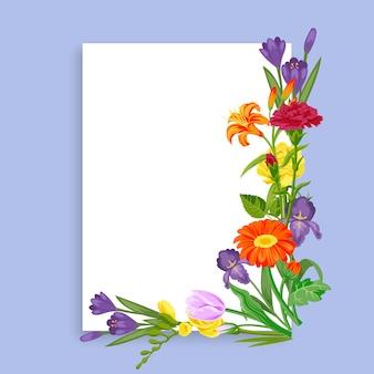 Cartão de flores para decoração de venda de primavera, modelo colorido para promoção de negócios, ilustração dos desenhos animados.