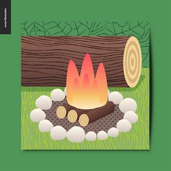 Cartão de fogo do acampamento