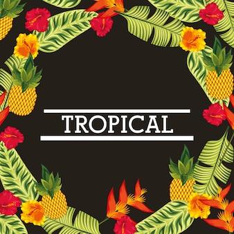 Cartão de folhas de flores tropicais