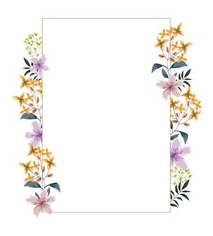 Cartão de folhas em aquarela de flores românticas