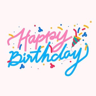 Cartão de fonte de doodle de feliz aniversário